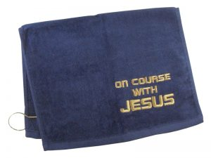 GOLF TOWEL ON COURSE WITH JESUS NAVY