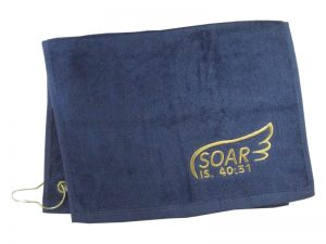 GOLF TOWEL SOAR IS. 40:31 NAVY