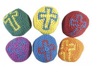 RELIGIOUS CROSS KNITTED KICK BALLS PK12