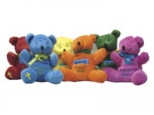 PLUSH PRAYER BEAR W/POCKET ASSORTED COLORS 4in PK12