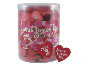 ERASER JESUS LOVES ME HEART PK96