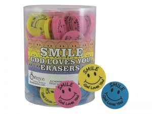 ERASER PINK/YELLOW/BLUE ROUND SMILE PK96