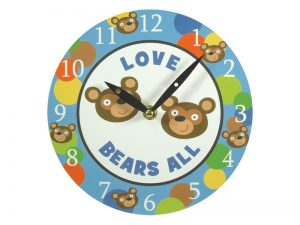 WALL CLOCK LOVE BEARS ALL 8 INCH