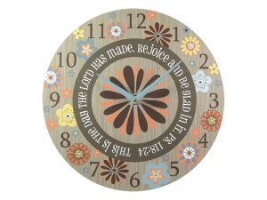 WALL CLOCK REJOICE AND BE GLAD 11 INCH