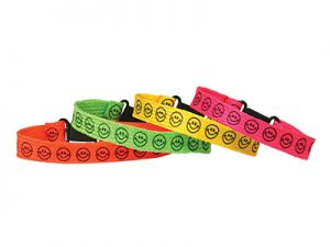 BRACELET WOVEN SMILE FACE ASSORTED BRIGHT COLORS PK12
