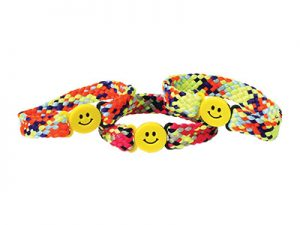 BRACELET BRAIDED MIX COLORS W/ SMILE FACE BUCKLE PK12