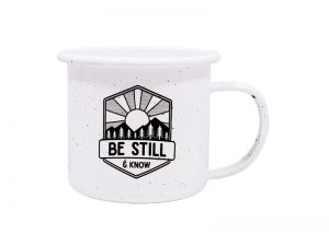 "12OZ WHITE CAMPFIRE MUG ""BE STILL"""