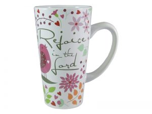 MUG LATTE REJOICE IN THE LORD 16OZ