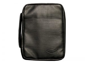 BIBLE COVER IMITATION LEATHER FISH BLACK M