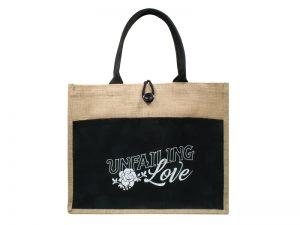 JUTE TOTE BAG  UNFAILING LOVE    17×13.5×6