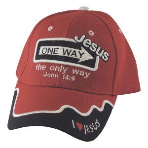 CAP RED ONE WAY JESUS