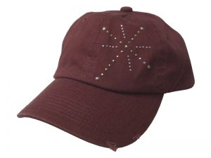 CAP BURGUNDY THIN STUDDED CROSS
