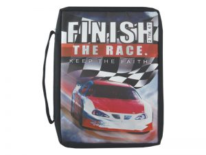 BIBLE COVER MICROFIBER BLACK RACE CAR(FINISH THE RACE) L
