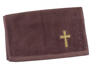 PASTOR TOWEL CROSS BURGUNDY