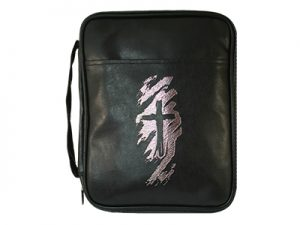 BIBLE COVER IMITATION LEATHER SWASH CROSS BLACK LG