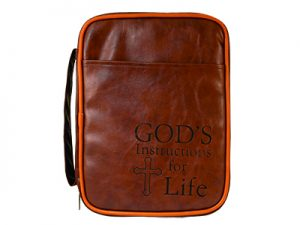 BIBLE COVER IMITATION LEATHER INSTRUCTIONS FOR LIFE DARK BROWN LG