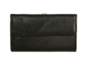 BLACK PATCHWORK  LEATHER WOMEN'S WALLET