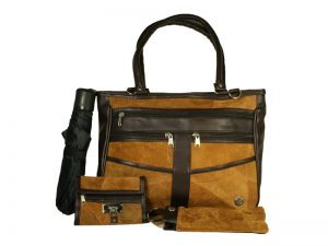 BROWN SUEDE PATCHWORK HANDBAG SET W/ANCHOR (1 ZIP PULL)