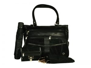 BLACK SUEDE PATCHWORK HANDBAG SET W/ANCHOR(1 ZIP PULL)