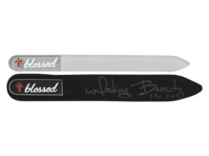 NAIL FILE JEWEL BLESSED GLASS W/VELVET COVER PK4