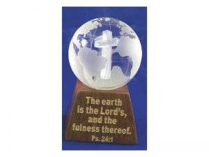 ETCHED GLASS GLOBE PS. 24:1 WOODGRAIN BASE