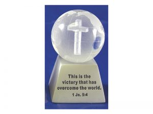 ETCHED GLASS GLOBE 1 JOHN 5:4 SILVER BASE