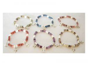 BRACELET HAMMERED SHELL W/CROSS CHARM PK12