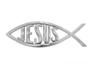 AUTO EMBLEM JESUS FISH SILVER PK6