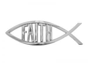 AUTO EMBLEM FAITH FISH SILVER PK6