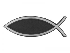 AUTO EMBLEM 2 MINI PLAIN FISH SILVER PK6