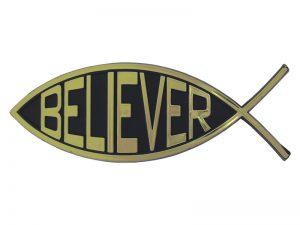 AUTO EMBLEM FISH/BELIEVER GOLD PK6