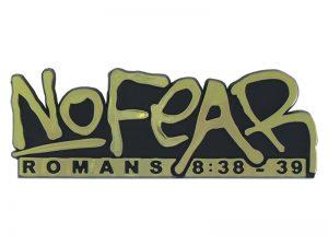 AUTO EMBLEM NO FEAR ROMANS 8:38-39 GOLD PK6