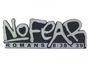 AUTO EMBLEM NO FEAR ROMANS 8:38-39 SILVER PK6