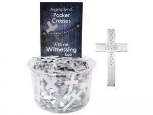 POCKET CROSS GOD LOVES YOU SILVER 200PK