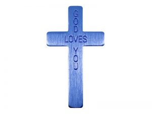 POCKET CROSS GOD LOVES YOU BLUE 50PK