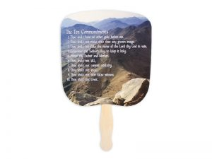 HAND FAN TEN COMMANDMENTS PK50