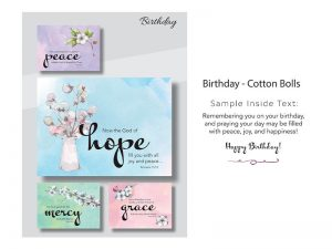 BOXED CARDS BIRTHDAY COTTON BOLLS
