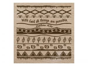 SANDSTONE COASTERS WITH GOD ALL THINGS POSSIBLE BOX 4