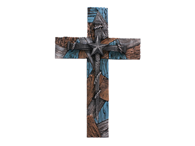 ''WALL CROSS - 14'''' TEXTURED NAIL CROSS TURQUOISE''