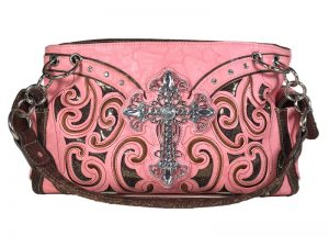 FASHION CONCEAL CARRY PURSE CROSS PEACH