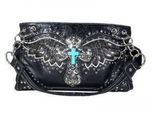 FASHION CONCEAL CARRY PURSE CROSS WING BLACK