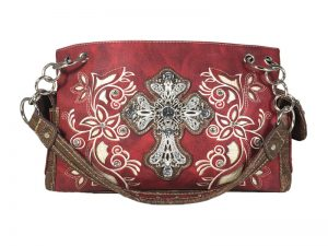 FASHION CONCEAL CARRY PURSE CROSS RED/BEIGE