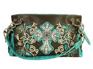 FASHION CONCEAL CARRY PURSE CROSS D.BROWN/TURQUOISE