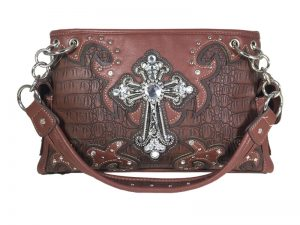 FASHION CONCEAL CARRY PURSE CROSS L.BROWN/DK.BROWN