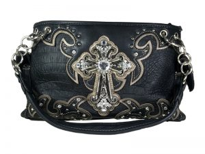 FASHION CONCEAL CARRY PURSE CROSS BLACK/PEWTER