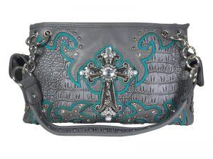 FASHION CONCEAL CARRY PURSE CROSS GREY/TURQUOISE