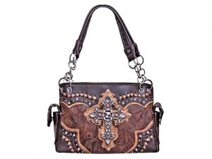 FASHION CONCEAL CARRY PURSE CROSS BROWN/BROWN/ TAN