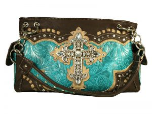 FASHION CONCEAL CARRY PURSE CROSS TURQUOISE/BROWN