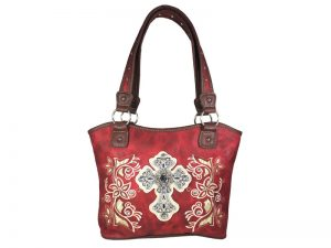 FASHION CONCEAL CARRY PURSE CROSS RED/BEIGE/BROWN