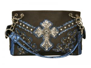FASHION CONCEAL CARRY PURSE CROSS D. BROWN/TURQUOISE